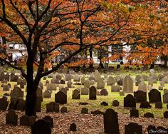 Granary Burying Ground in Boston, MA founded in 1660. Buried here are Boston Massacre victims, Samuel Adams, John Hancock, Paul Revere and Ben Franklin's parents