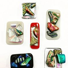 """Six more pendants ready to have their """"findings"""" added. Thanks for a great workshop! Melbourne workshop in art glass jewellery. Make your choice of six jewellery pieces. Glass Earrings, Glass Jewelry, Jewellery Workshop, Fused Glass Art, Fun At Work, Ceiling Pendant, Glass Pendants, Three Dimensional, Wearable Art"""
