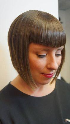 HAIR by Christine & Co - somerville, MA. Your hair experts! Bob Haircut With Bangs, Short Hair With Bangs, Hairstyles With Bangs, Pretty Hairstyles, Girl Hairstyles, Retro Bangs, Short Bob Styles, Inverted Bob Haircuts, Chin Length Bob