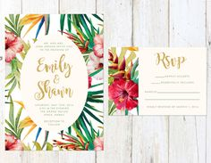 Tropical Wedding Invitation Destination by AlexaNelsonPrints