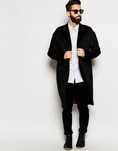 Image 4 ofRiver Island Wool Overcoat In Black