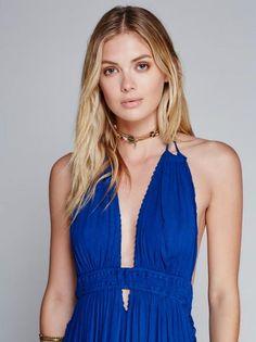 new cotton long dress halter backless summer dress bohemian beach maxi dresses V-neck loose slim boho holiday dresses
