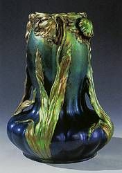 Vilmos Zsolnay.  Hungarian (1828-1900)  Vase, 1899, earthenware with metallic luster glaze