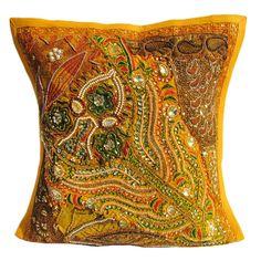 "16X16"" Indian Cotton Beaded Patch Work Decorative Pillow Case Cushion Cover 027 #Handmade #ArtDecoStyle"