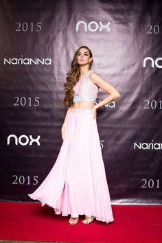 Formal A Line Baby Pink Two Piece with Embellished Crop Top 2015 Prom Dress