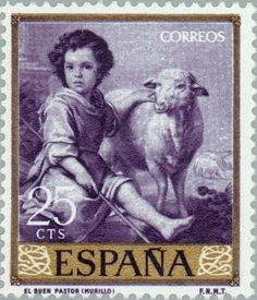 The Good Shepherd (Murillo) Old Stamps, Rare Stamps, Postage Stamp Art, The Good Shepherd, Small Art, Stamp Collecting, Art Images, Sheep, Old Things