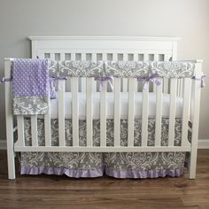 Hey, I found this really awesome Etsy listing at https://www.etsy.com/listing/192485594/gray-lavender-damask-crib-rail-bedding