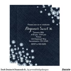Denim and Diamond Bling Birthday Party Invitations Party