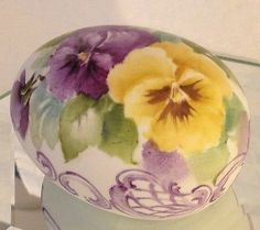EASTER-EGG-Hand-Painted-PANSIES-Scrolls-2-75in-Porcelain-Bisque-Signed-Ship-Dis