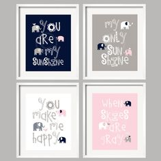 Pink, Navy and Gray Nursery Decor Prints - You Are My Sunshine -Elephants and birds -  8x10 - baby shower gift, for girl by YassisPlace on Etsy, $59.95