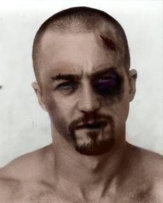 when some one new joined fight club, his ass was cookie dough. after a week at fight club they were carved out of wood. American History X, Edward Norton, Hollywood Star, Fight Club, Rock And Roll, Carving, Celebrities, Movies, Stars
