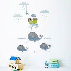 Walfisch- und Katzen-Wandaufkleber von Koko Kids  Preis: ab 38,50 € plus Versand, gefunden auf Etsy Gibt es hier: http://monsterkiste.de/WalAufkleber  #fuerKinder #Kinderzimmer #Wandaufkleber #Seemaenner