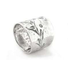 Flower Sprig Hammered Finish Adjustable Thumb Ring Sterling Silver