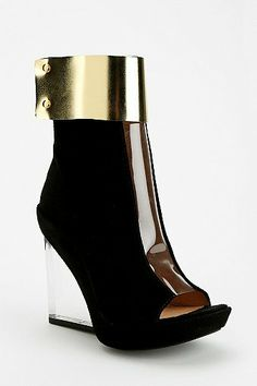 Jeffrey Campbell Roni Clear Wedge Peep-Toe Ankle Boot $205 worth of hot damn.