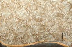 Wedding Rosette Satin Tablecloth - Champagne