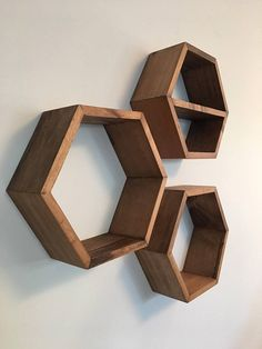 set of 3 modern hexagon shelves with stain options