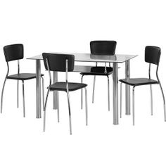 Hanover Glass Dining Table Set With 4 Black Dining Chairs