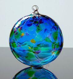 Hand Blown Glass Ornament Special Blue Multi by LocalArtGlassPDX