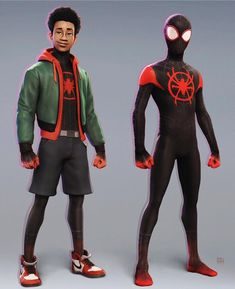 Spider-Man Into the Spider-Verse Miles Morales Marvel Avengers, Marvel Art, Marvel Heroes, Black Spiderman, Spiderman Art, Amazing Spiderman, Miles Morales Spiderman Costume, Miles Morales Costume, Arte Nerd