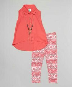 Look at this Coral Hi-Low Button-Up Tunic Set - Girls Little Girl Outfits, Cute Outfits For Kids, Little Girl Fashion, Toddler Outfits, Toddler Girl Style, Toddler Fashion, Fashion Kids, Toddler Girls, Trendy Fashion
