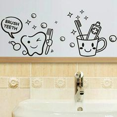 #Valentines #AdoreWe #BangGood - #Eachine1 Removable Toothbrush Printed Waterproof Sticker Bathroom Wall Decal - AdoreWe.com