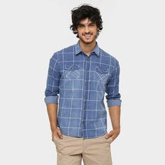 Camisa Jeans Colcci Manga Longa Xadrez Tinturada - Jeans