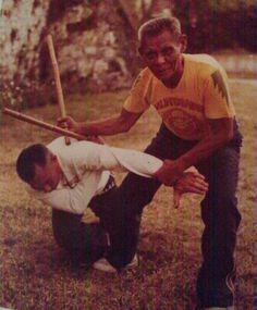 The legendary Anciong Bacon, founder of Balintawak Eskrima (filipino martial art) with one of his students