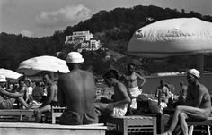 Men's day out, 1938. Khosty beach, located on Quiet cove at the Vidnoe cape, on the Black Sea coast. Sochi, Krasnodar region
