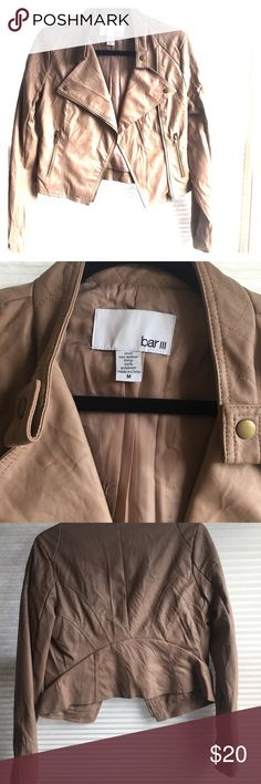 Faux leather jacket Short waisted jacket by bar 3 from Macy's.  Taupe/brown color. Bar III Jackets & Coats Blazers