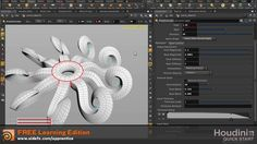 Houdini Polyextrude/Curve Input: This is a quick start tutorial for Houdini, a 3D animation and VFX software used for feature films, commercials and video games. To learn more and to access a free learning edition, go to http://www.sidefx.com.