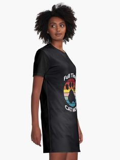"""""""Full Time Cat Mom"""" Graphic T-Shirt Dress by ind3finite 