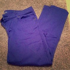 Merona 14 Ankle Skinny Cobalt Blue Jeans These are a beautiful color for spring and summer! In great condition! Merona Pants Skinny