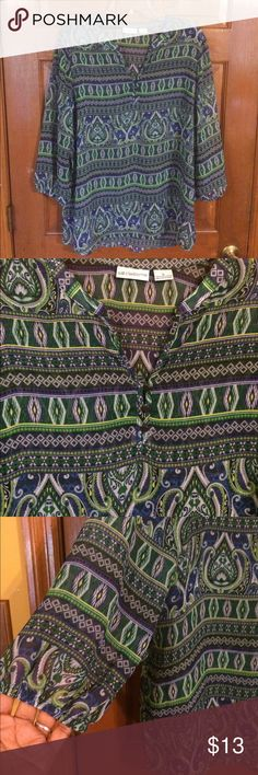EUC, maybe wore once, beautiful color & design EUC, maybe wore once, beautiful color & design, elastic sleeves & long in front & longer on back. Great style. Liz Claiborne Tops Tunics