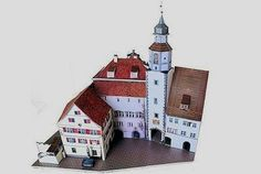 """This beautiful and very detailed paper model of the Town Hall In Wangen, Germany, is offered by Ausschneide Bogen website. A great model for Dioramas, RPG and Wargames and you can choose between two different scales: HO (1/87 scale) and N (1/160 scale). This model occupies """"only"""" 24 sheets of pap"""
