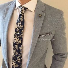 """""""We absolutely love SuitedMan's accessories including their Vintage Blue Floral Linen Tie and Crystal Lapel Pin. Get it now at www.suitedman.com. This brand is on point! Follow @suited_man @suitedmanstyle"""" Photo taken by @mensfashionpost on Instagram, pinned via the InstaPin iOS App! http://www.instapinapp.com (03/19/2015)"""