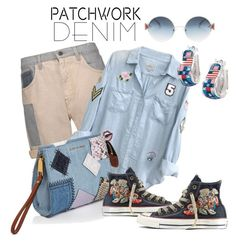 """""""patched denim"""" by daincyng ❤ liked on Polyvore featuring Fendi, McQ by Alexander McQueen, Rails, Marc Jacobs, Converse, The Bradford Exchange and patchwork"""
