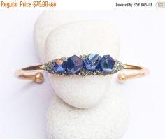 ON SALE Raw Blue Crystal Quartz Bracelet Boho Jewelry - Raw Handmade Bracelet - Raw Stone Crystal Cuff - Crystal Jewellery - Christmas Gift