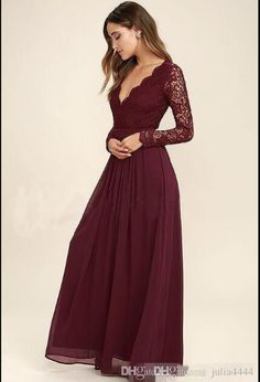 2019 Burgundy Chiffon Bridesmaid Dresses Long Sleeves Country Style V-Neck  Backless Long Beach Lace Top Wedding Party Dresses Real Image 918b855396ac