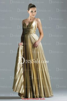 Empire Subtly Ruched Evening Dress with Spaghetti Straps and Luxury Detail