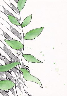 Green watercolor plant illustration with a little bit of by siret