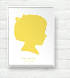 Custom Silhouette Portrait on White 8x10 Print - Personalized Child Girl or Boy Children Name Art for Mothers Day Nursery or Kids Room