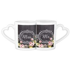 rustic mr. mrs  vintage flowers Chalkboard wedding Couple Mugs