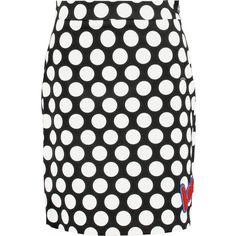 Love Moschino Flocked polka-dot stretch-cotton mini skirt (2 325 UAH) via Polyvore featuring skirts, mini skirts, black, love moschino skirt, panel skirt, petite skirts, love moschino и mini skirt
