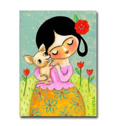 ORIGINAL acrylic painting FRIDA Kahlo with CHIHUAHUA dog folk art one of a kind by Tascha