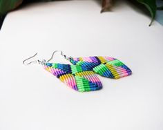Ethnic boho micro macrame earrings  Rainbow by MartaMacrame, $26.00