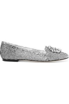 Dolce & Gabbana - Embellished Lace-covered Mesh Ballet Flats - Silver - IT40.5