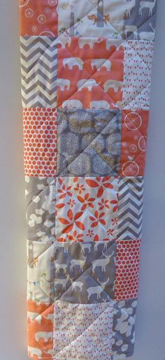 Baby Girl Quilt-Modern Baby   Bedding-Organic Birch Fabric-Chevron-Gray-Grey-Coral-Woodland   Animal-Elk-Elephant-Deer Baby Blanket