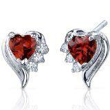 Cupids Grace 1.00 Carats Garnet Heart Shape Cubic Zirconia Earrings in Sterling Silver Rhodium Finish -