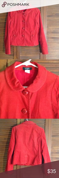 J. Crew Corduroy Jacket Red/ orange corduroy jacket with rounded collar. Large buttons. Great condition! J. Crew Jackets & Coats Blazers