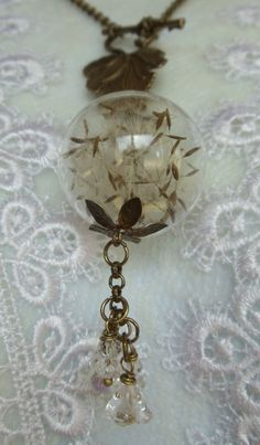 Dandelion seed glass orb necklace make a by Charsfavoritethings, $35.00